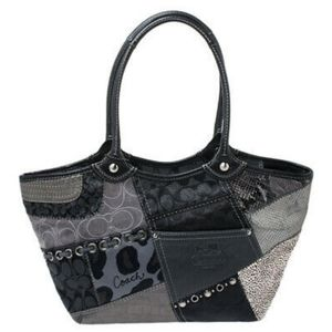 Coach Grey And Black Tote Bag